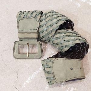 MaxMara Olive Green Woven Leather Wide Waist Belt